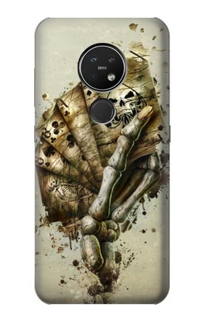 S0550 Carte Poker Crâne Etui Coque Housse pour Nokia 7.2