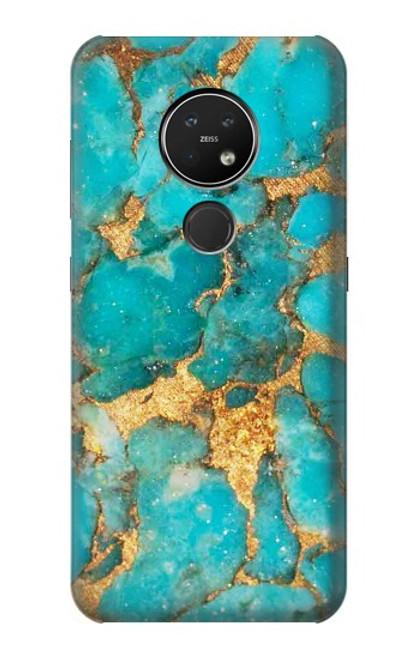 S2906 Aqua Turquoise Pierre Etui Coque Housse pour Nokia 7.2
