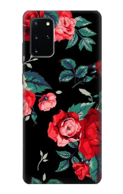 S3112 Motif floral Rose Noir Etui Coque Housse pour Samsung Galaxy S20 Plus, Galaxy S20+