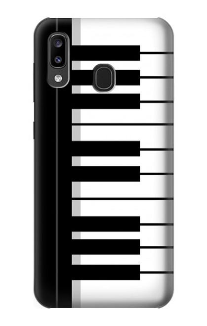 S3078 Noir et blanc Clavier de piano Etui Coque Housse pour Samsung Galaxy A20, Galaxy A30