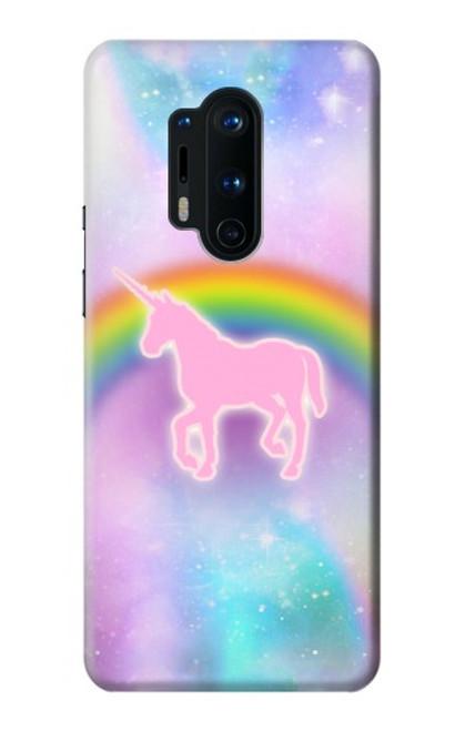 S3070 Arc en ciel pastel ciel Licorne Etui Coque Housse pour OnePlus 8 Pro