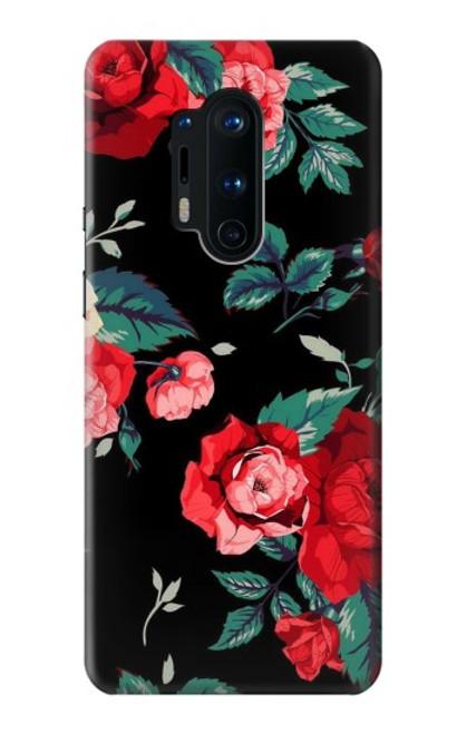 S3112 Motif floral Rose Noir Etui Coque Housse pour OnePlus 8 Pro
