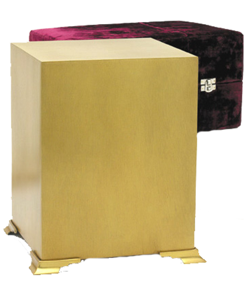 Bronze simplicity cube cremation urn for ashes.