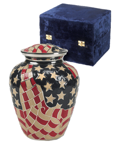 Patriotic Americana cremation urn for ashes. Painted to look like the American flag.