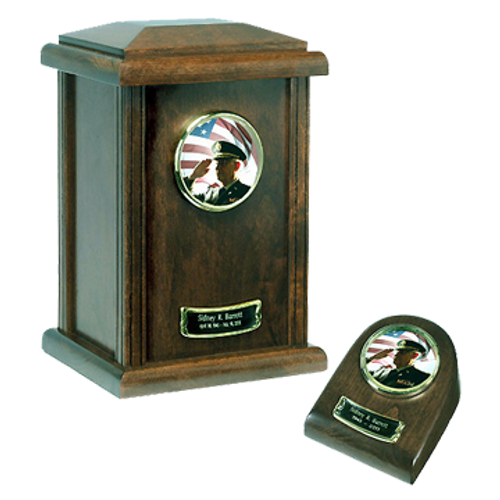 Genuine Hardwood Military Patriotic Cremation Urn for ashes.