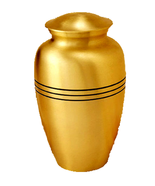 Classic brass cremation urn for ashes.
