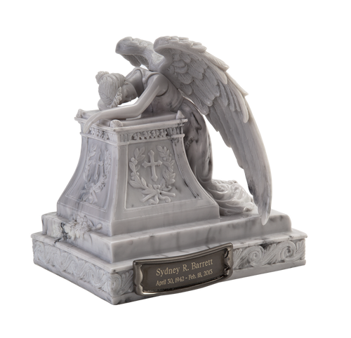 Angel in mourning sculpture token keepsake cremation urn for ashes.
