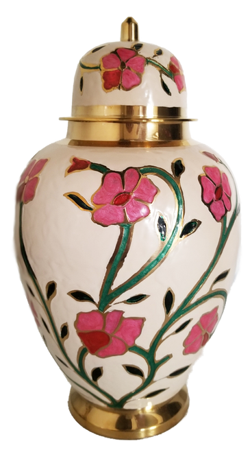 Hand painted pink floral cremation urn for ashes.