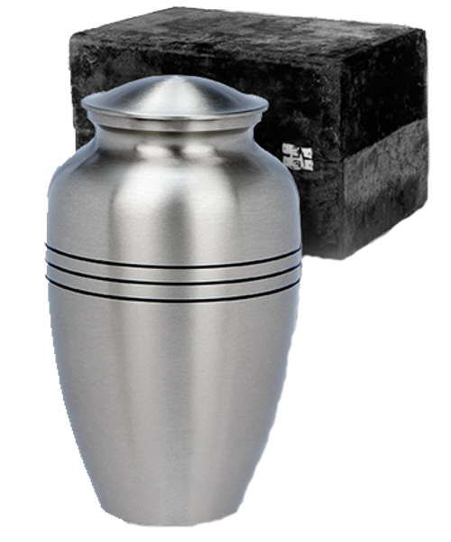 Classic pewter cremation urn for ashes.