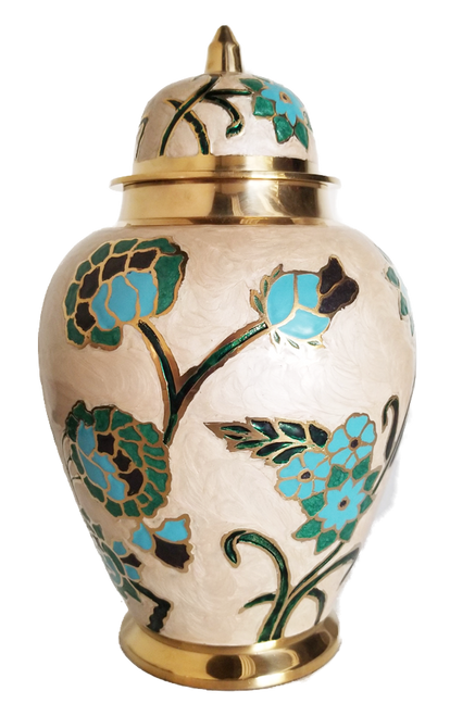 Hand painted blue floral cremation urn for ashes.