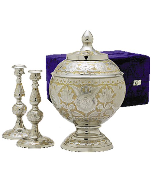 SilverGold Memorial Cremation set with urn for ashes and candlesticks.