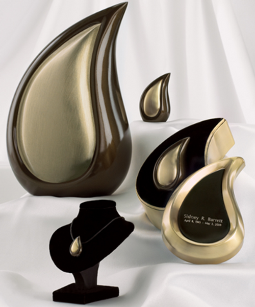 Bronze tone finish teardrop cremation series.