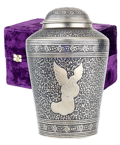 Silver angel in prayer cremation urn for ashes.