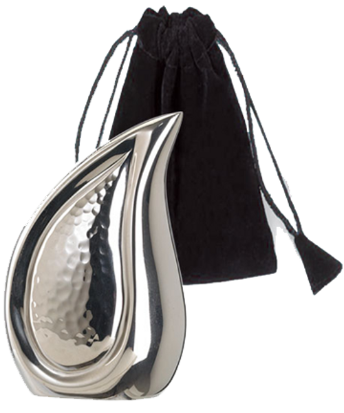Bright silver finish teardrop token keepsake cremation urn for ashes.