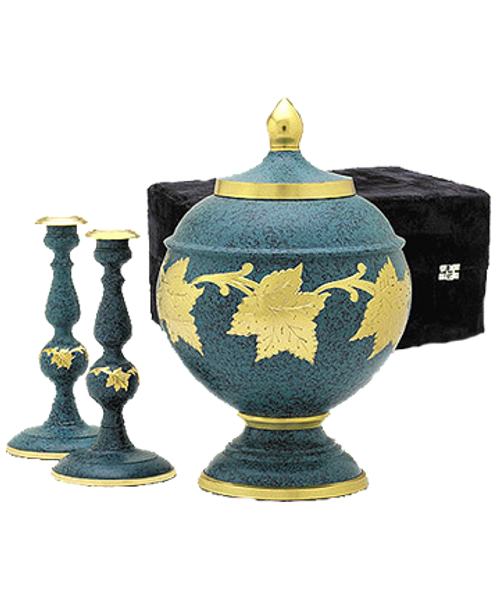 Patina Memorial Cremation set with urn for ashes and candlesticks.