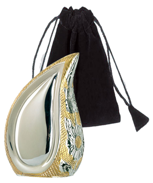 Teardrop SilverGold Keepsake Token cremation urn for ashes.