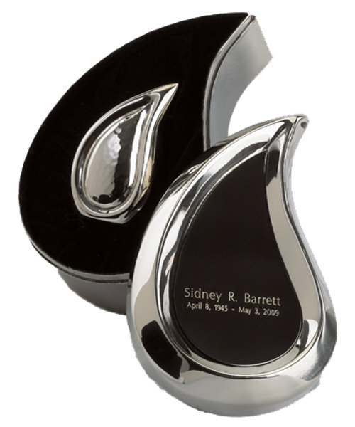 Bright silver finish teardrop ultra keepsake token cremation urn for ashes.