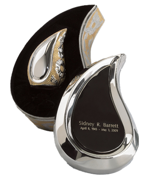 SilverGold finish teardrop ultra keepsake token cremation urn for ashes.