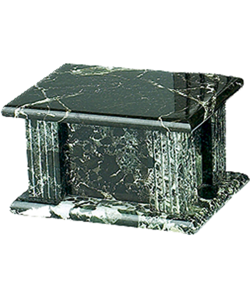 Black grain marble rectangle cremation urn for ashes.