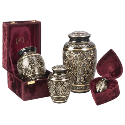 Black and gold pet engraved cremation urn series.