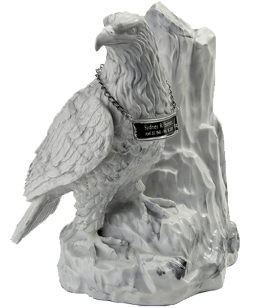 Patriotic American eagle at rest sculpture cremation urn for ashes.
