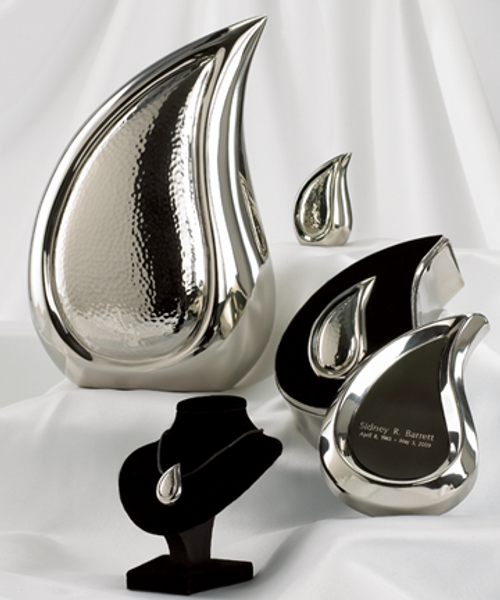 Bright silver finish teardrop cremation series.