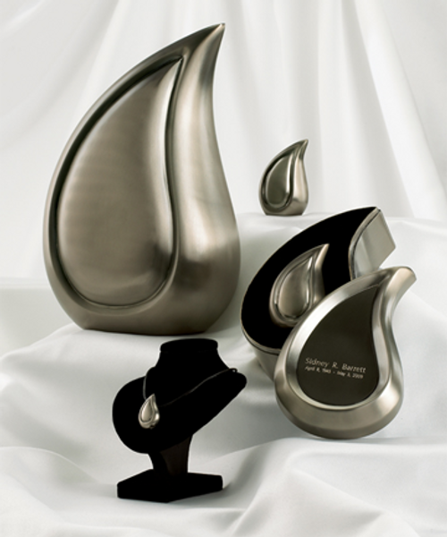 Brushed Pewter Finish Teardrop cremation urn series.