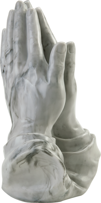 Praying hands sculpture token keepsake cremation urn for ashes.