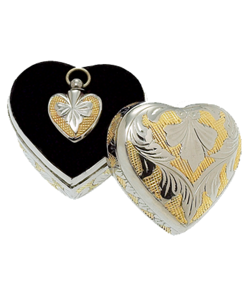 SilverGold heart shaped memorial jewelry necklace pendant in a matching heart shaped case.