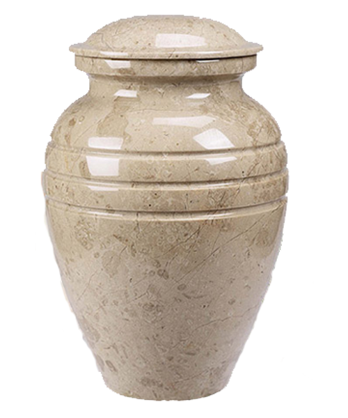 Cream Marble cremation urn for ashes.