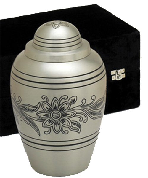 Pewter bouquet floral cremation urn for ashes.