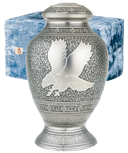 Silver Eagle cremation urn for ashes.