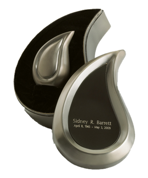 Brushed Pewter finish teardrop ultra keepsake cremation urn for ashes.