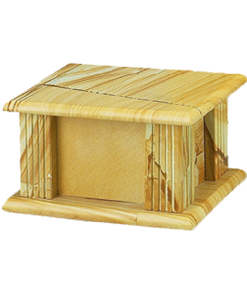 Teakwood marble rectangle cremation urn for ashes.