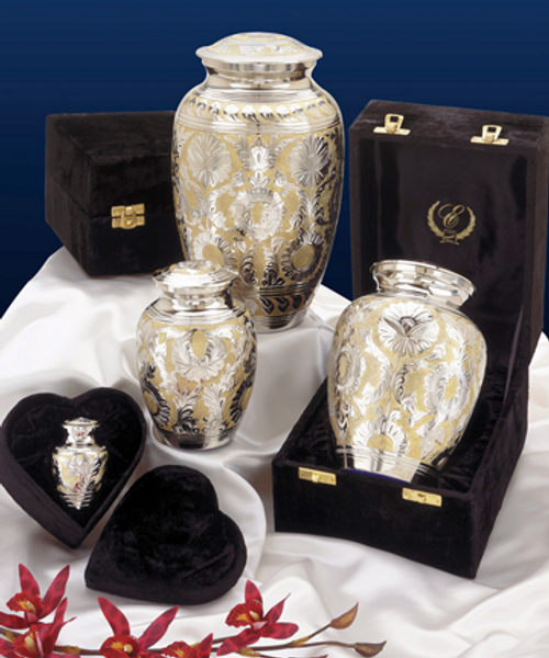 SilverGold classic memorial pet cremation urn for ashes series.