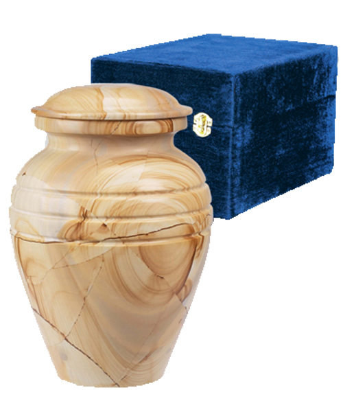 Teakwood Grain Marble Pet Cremation Urn for ashes.