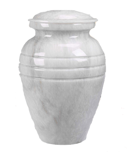 White marble adult size cremation urn for ashes.