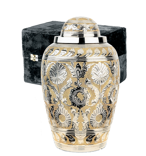 SilverGold dynasty cremation urn for ashes.