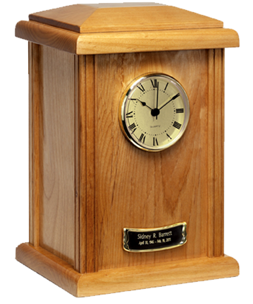 Tower Urn Series with clock Natural Wood Cremation Urn for ashes.