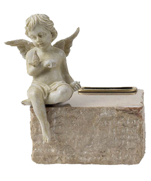 Marble angel cream cremation urn for ashes. Shown with optional urn medallion.