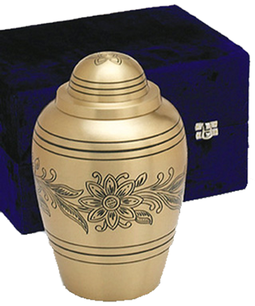 Brass bouquet floral cremation urn for ashes.
