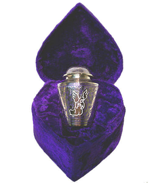 Silver angel keepsake token cremation urn for ashes.