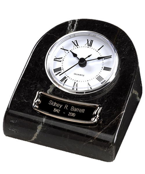 Tower clock black marble token keepsake cremation urn for ashes.