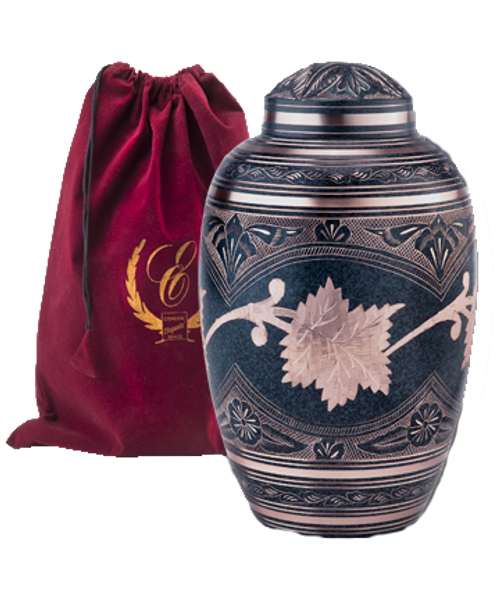 Etched leaf patina brass cremation urn for ashes.