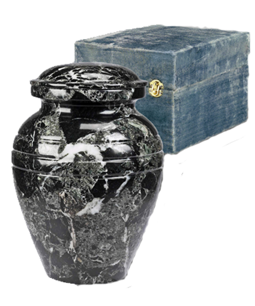 Black grain marble cremation urn for ashes.