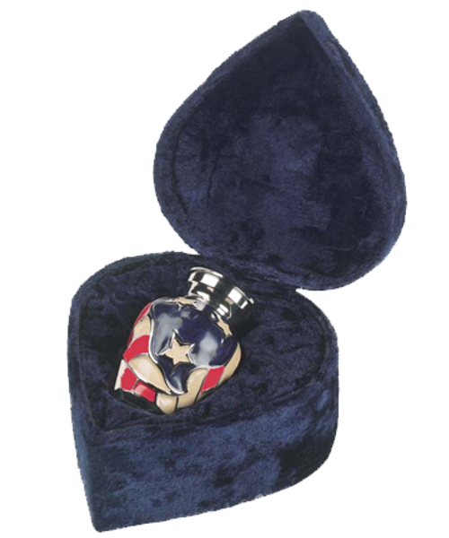 Americana patriotic military army token keepsake cremation urn for ashes with velvet case.