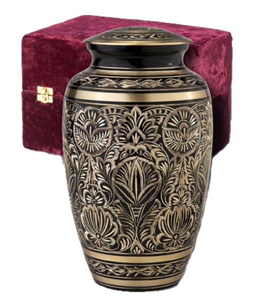 Gee motif etched brass cremation urn for ashes.