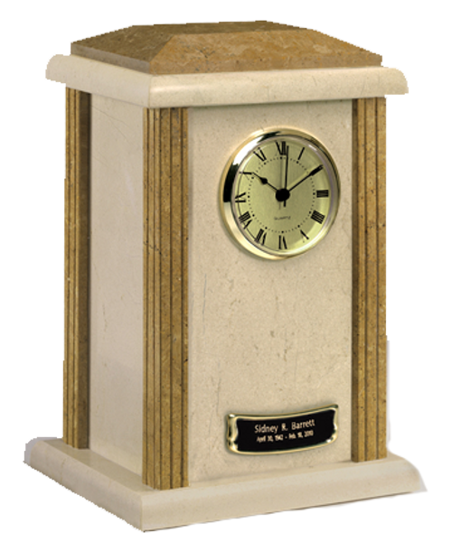 Two-tone marble clock cremation urn for ashes.