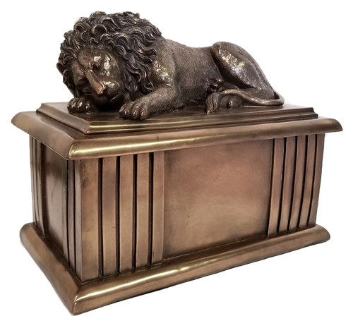 The Lion Sleeps Tonight bronze brass cremation urn for ashes.
