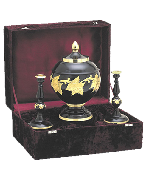 Ebony leaf memorial keepsake set includes velvet case and two candle sticks with main cremation urn for ashes.